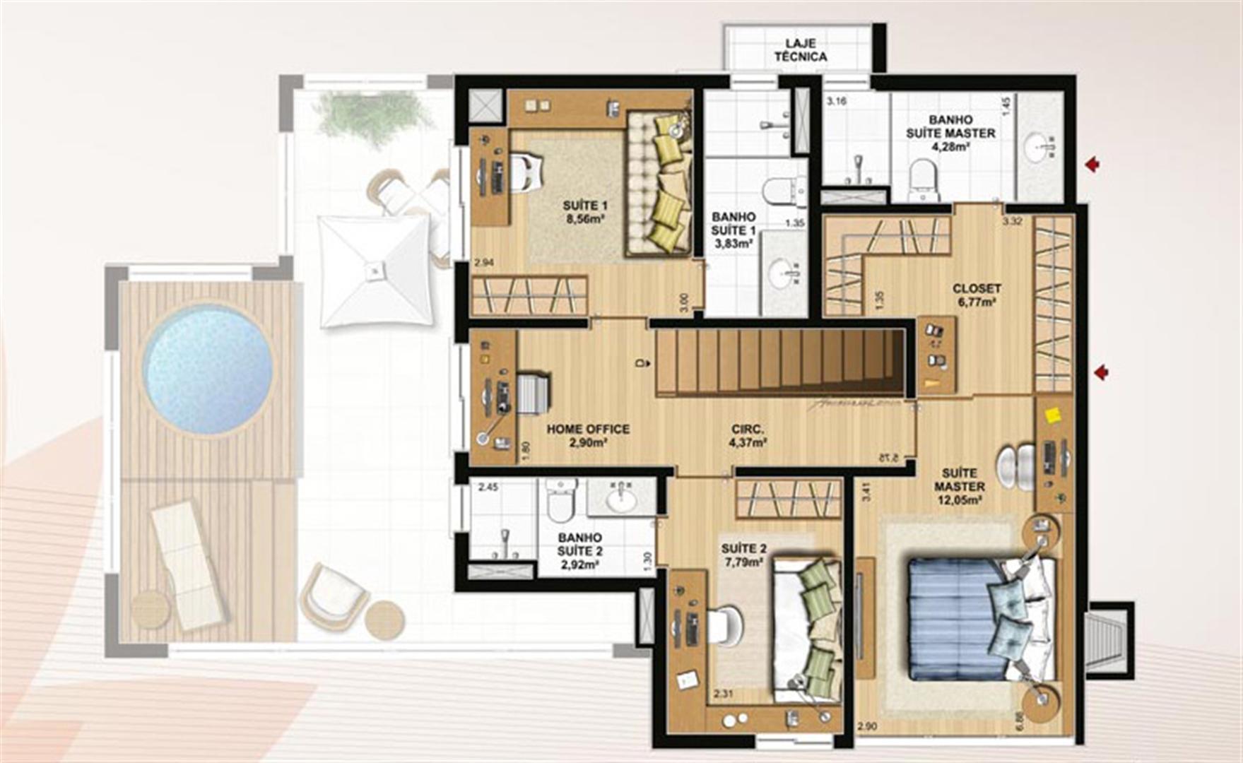 Duplex 174 m² privativos  pavimento superior | Le Jardin Residencial – Apartamento no  Água Verde - Curitiba - Paraná