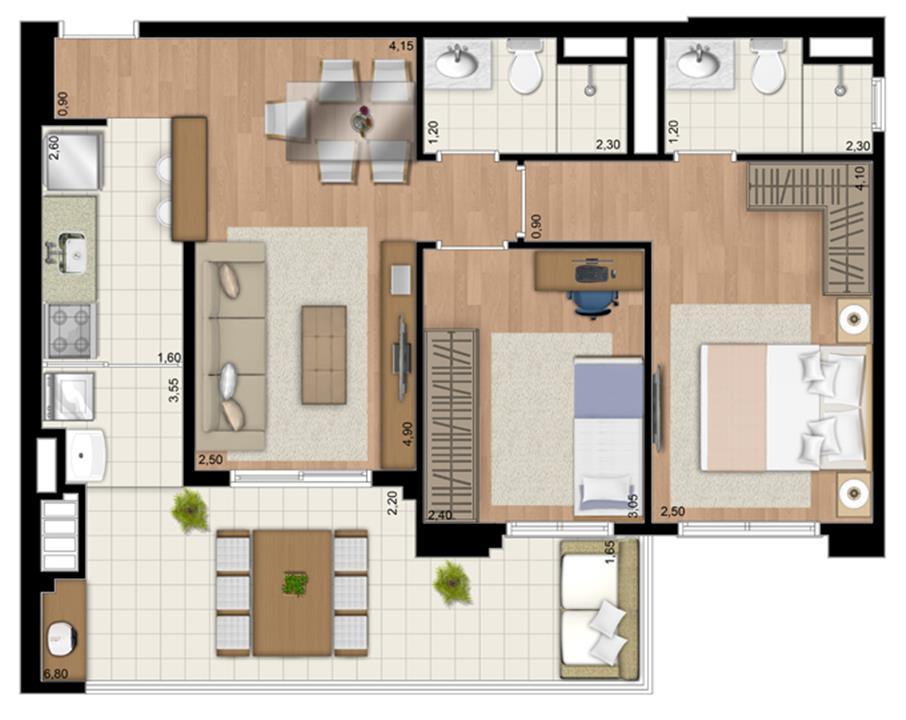 Planta Apartamento de 68 m² privativos com 2 dorms. (com suíte) | Le Champ – Apartamentono  Belém - São Paulo - São Paulo