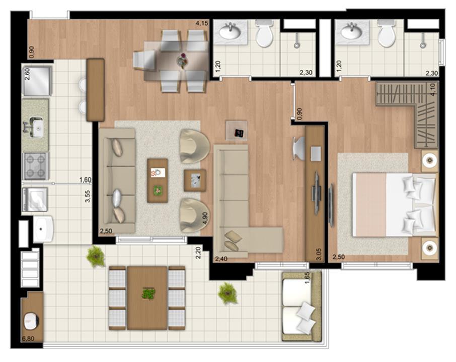 Planta Apartamento de 68 m² privativos living ampliado com 1 suíte | Le Champ – Apartamentono  Belém - São Paulo - São Paulo