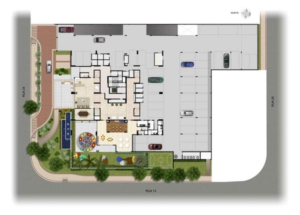 Perspectiva Ilustrada da Implantação | Domani LifeStyle – Apartamentono  Setor Marista - Goiânia - Goiás