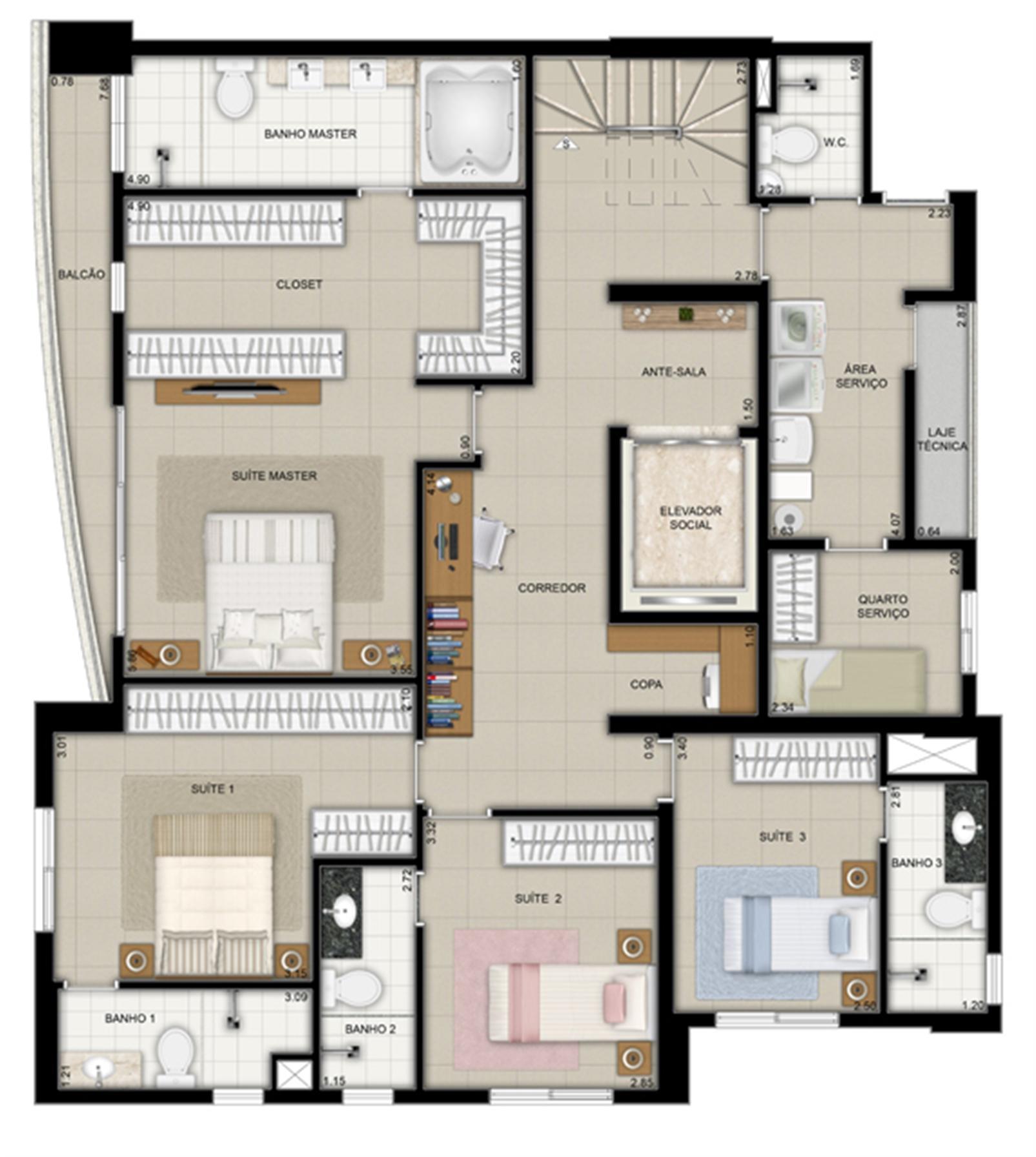 Planta duplex inferior final 2 | Domani LifeStyle – Apartamentono  Setor Marista - Goiânia - Goiás
