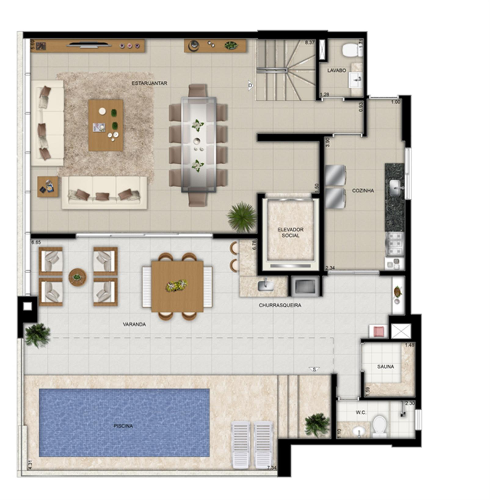 Planta duplex superior final 2 | Domani LifeStyle – Apartamentono  Setor Marista - Goiânia - Goiás