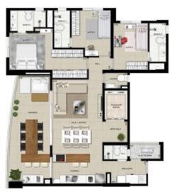 Planta tipo 4º ao 8º pavimentos decorado | Domani LifeStyle – Apartamento no  Setor Marista - Goiânia - Goiás