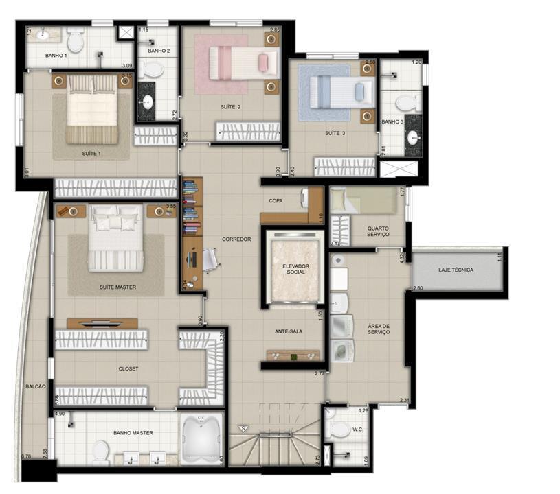 Planta Duplex Pavimento Inferior | Domani LifeStyle – Apartamentono  Setor Marista - Goiânia - Goiás