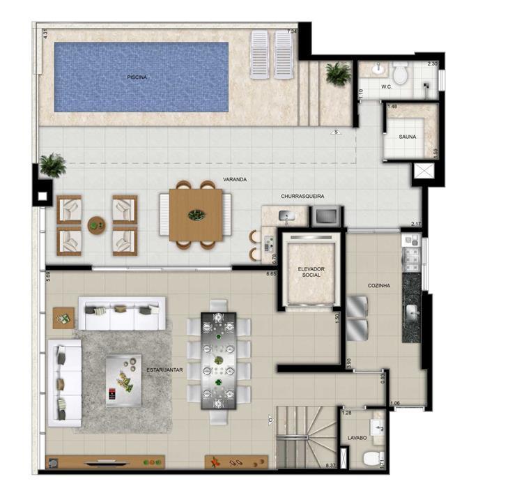 Planta Duplex Pavimento Superior | Domani LifeStyle – Apartamentono  Setor Marista - Goiânia - Goiás