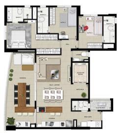 Planta Tipo 1- 129m² | Domani LifeStyle – Apartamento no  Setor Marista - Goiânia - Goiás