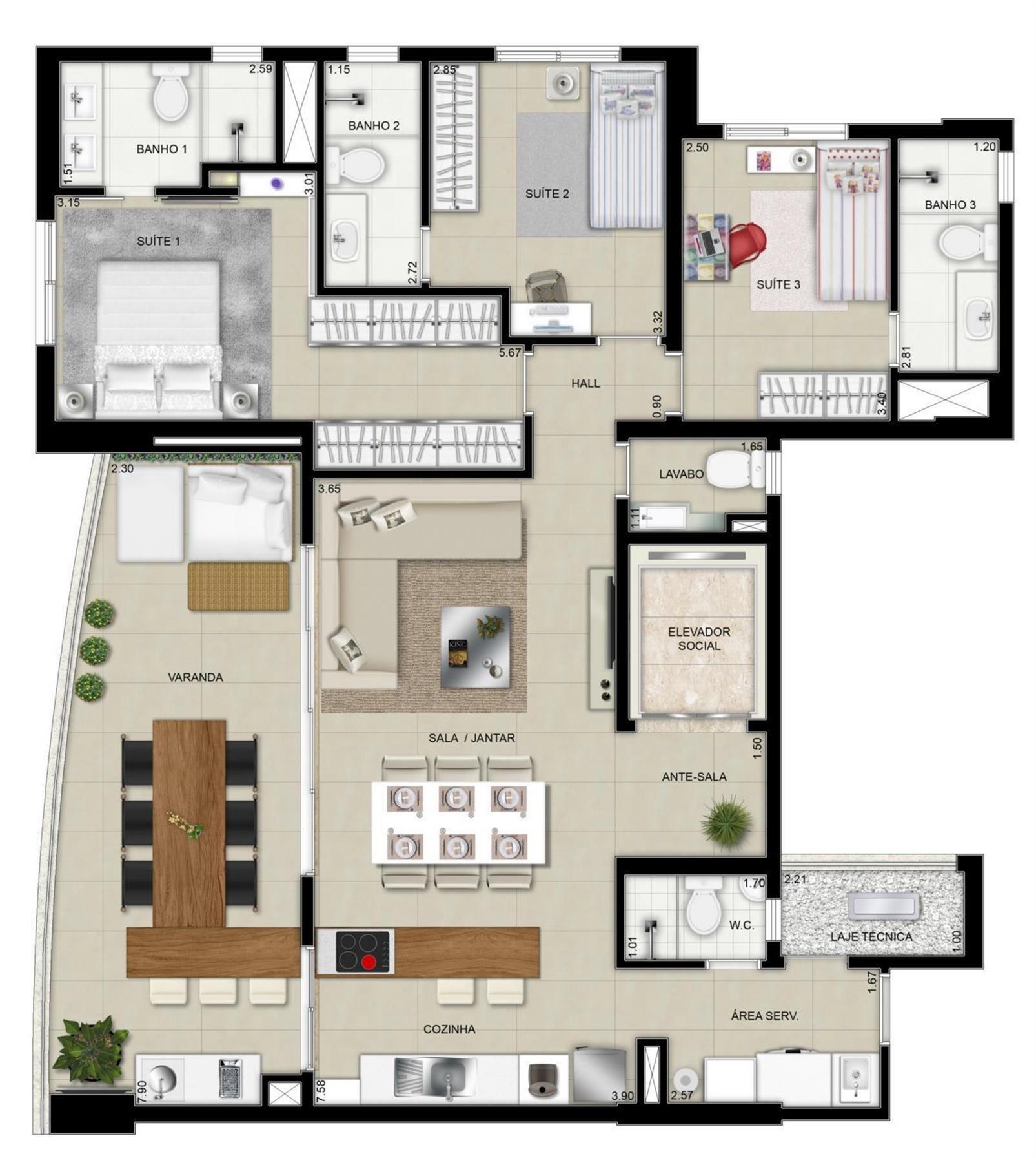 Planta Tipo 1- 129m² | Domani LifeStyle – Apartamentono  Setor Marista - Goiânia - Goiás