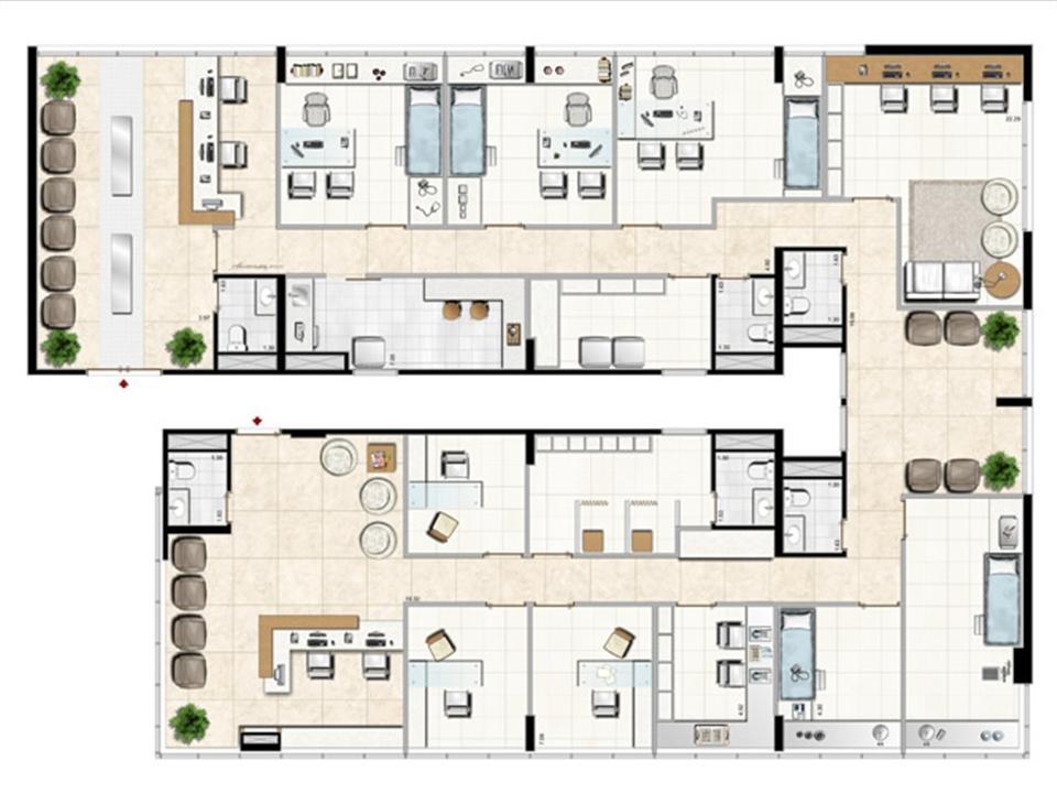 Modelo de Clínica Médica - 333 m² privativos | Aschneider Absolut Business – Salas Comerciaisno  Higienópolis - Porto Alegre - Rio Grande do Sul
