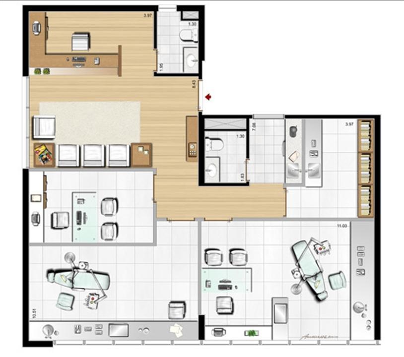 Modelo de Clínica Odontológica - 107 m² privativos | Aschneider Absolut Business – Salas Comerciaisno  Higienópolis - Porto Alegre - Rio Grande do Sul