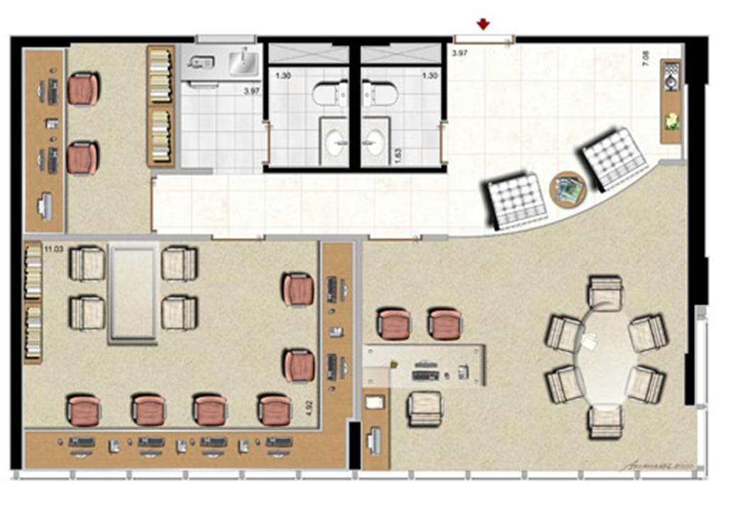 Modelo Escritório de Advocacia - 88 m² privativos | Aschneider Absolut Business – Salas Comerciaisno  Higienópolis - Porto Alegre - Rio Grande do Sul