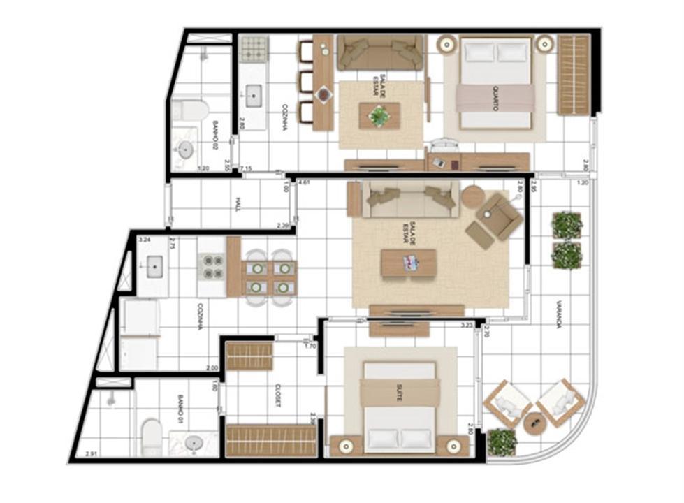 PLANTA - APTO TIPO A - 82 m² - DOUBLE FLAT  | In Mare Bali – Apartamentono  Distrito Litoral de Cotovelo - Parnamirim - Rio Grande do Norte