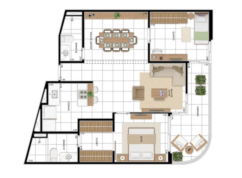 PLANTA - APTO TIPO A - 82 m² - OPÇÃO 02 DORMS COM SUÍTE (02)  | In Mare Bali – Apartamentono  Distrito Litoral de Cotovelo - Parnamirim - Rio Grande do Norte