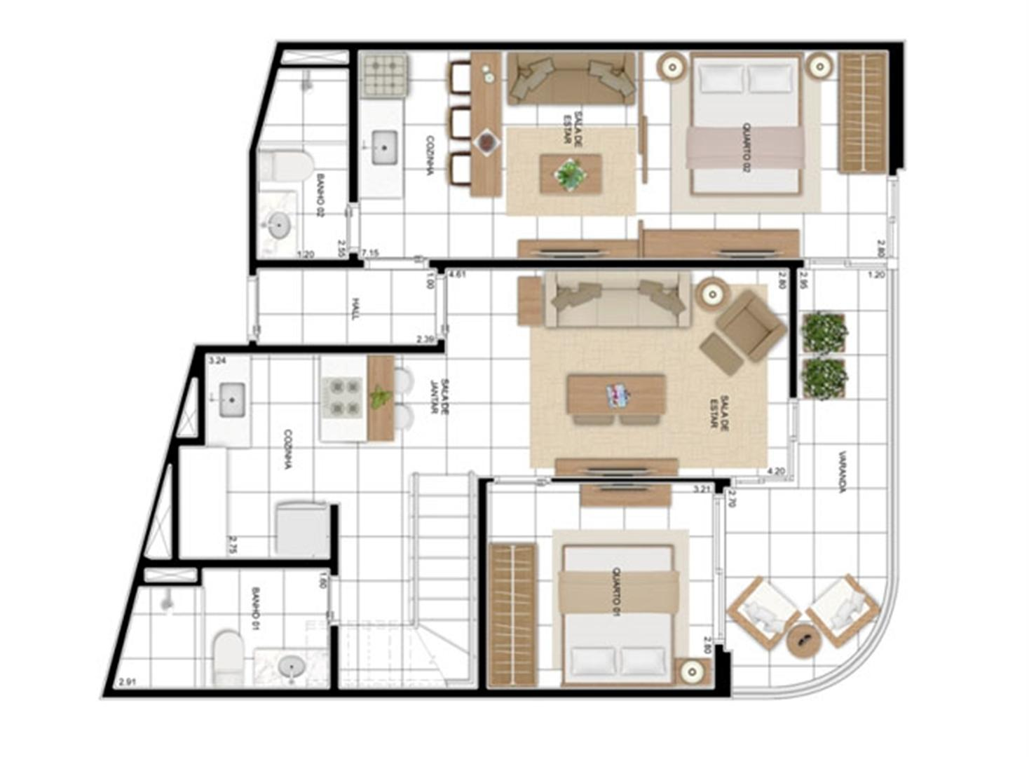PLANTA - APTO TIPO A - 166 m² DUPLEX INFERIOR  | In Mare Bali – Apartamento no  Distrito Litoral de Cotovelo - Parnamirim - Rio Grande do Norte