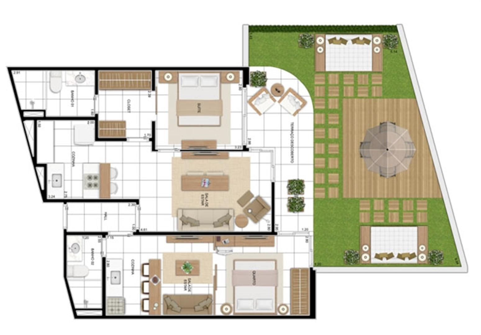 PLANTA - APTO TIPO A - MAISON 117 m²  | In Mare Bali – Apartamento no  Distrito Litoral de Cotovelo - Parnamirim - Rio Grande do Norte