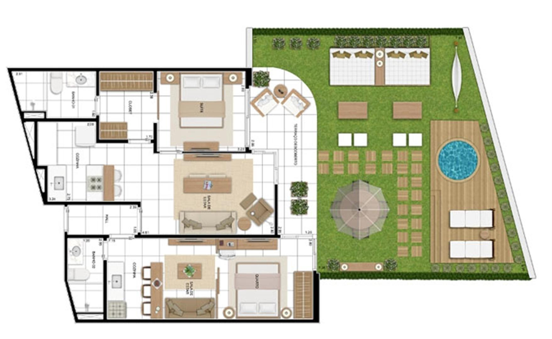 PLANTA - APTO TIPO A - MAISON 137 m²  | In Mare Bali – Apartamento no  Distrito Litoral de Cotovelo - Parnamirim - Rio Grande do Norte