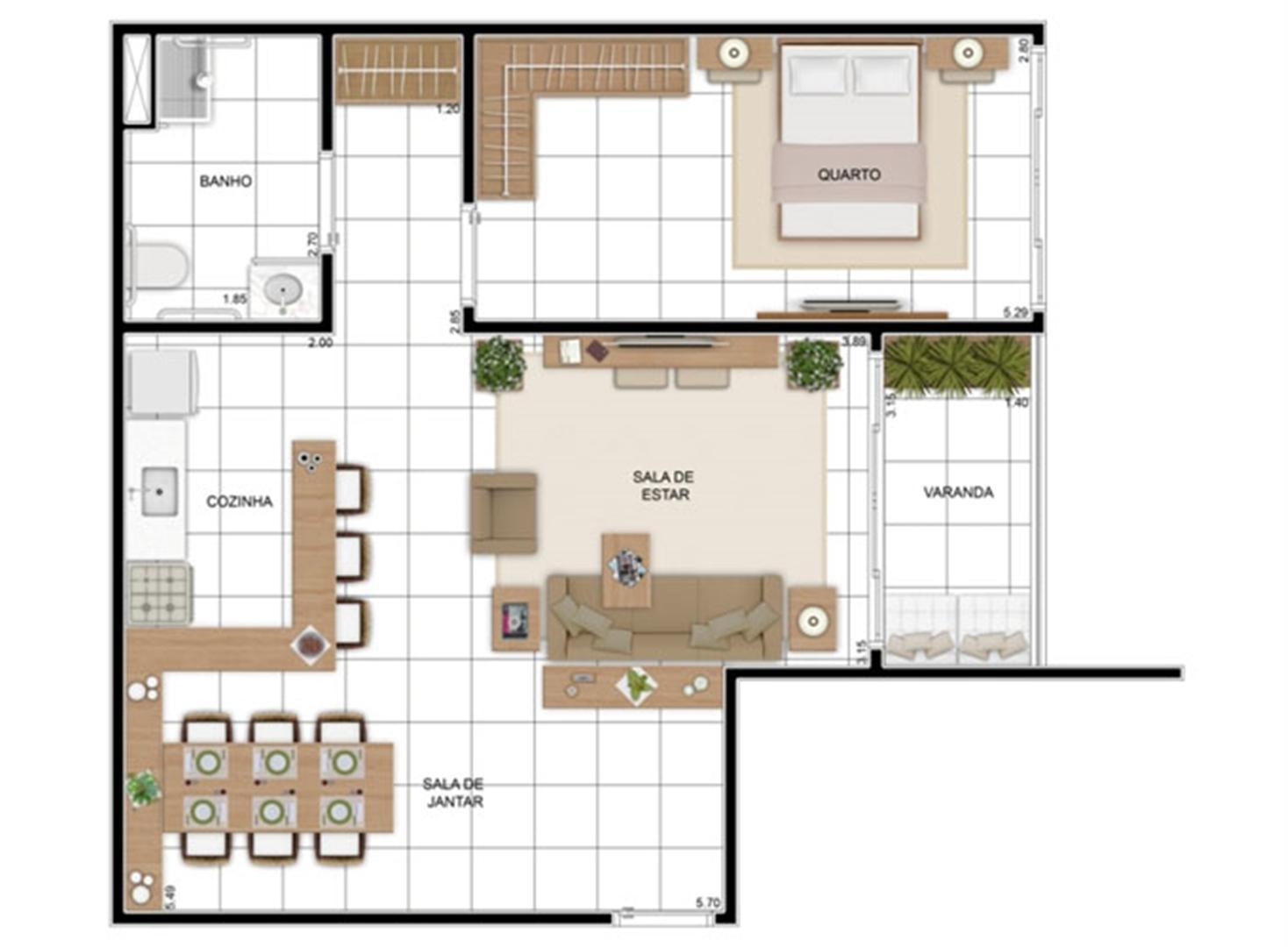 PLANTA - APTO TIPO B - 70 m² (ADAPTADA PARA PNE)  | In Mare Bali – Apartamento no  Distrito Litoral de Cotovelo - Parnamirim - Rio Grande do Norte