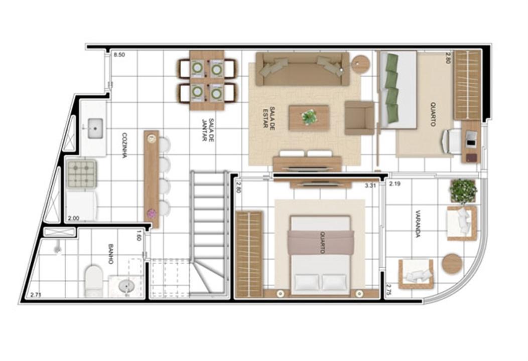 PLANTA - APTO TIPO C - DUPLEX INFERIOR 114 m²  | In Mare Bali – Apartamentono  Distrito Litoral de Cotovelo - Parnamirim - Rio Grande do Norte