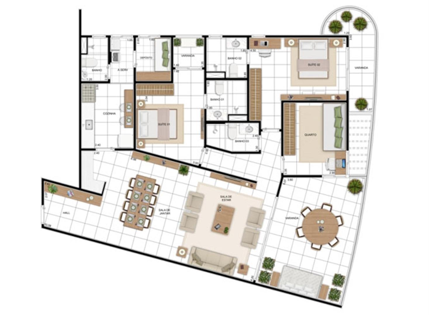 PLANTA - APTO TIPO E - 157 m²  | In Mare Bali – Apartamento no  Distrito Litoral de Cotovelo - Parnamirim - Rio Grande do Norte
