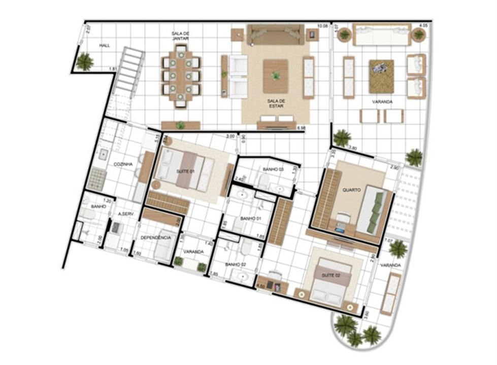 PLANTA - APTO TIPO E - DUPLEX INFERIOR 305 m²  | In Mare Bali – Apartamentono  Distrito Litoral de Cotovelo - Parnamirim - Rio Grande do Norte