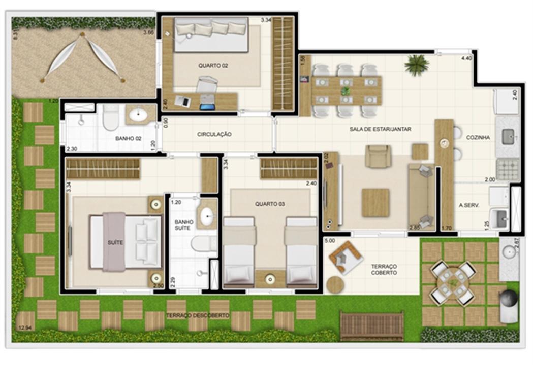 Planta Giardino 119 m² | Novo Sttilo Home Club – Apartamentona  Nova Parnamirim - Parnamirim - Rio Grande do Norte