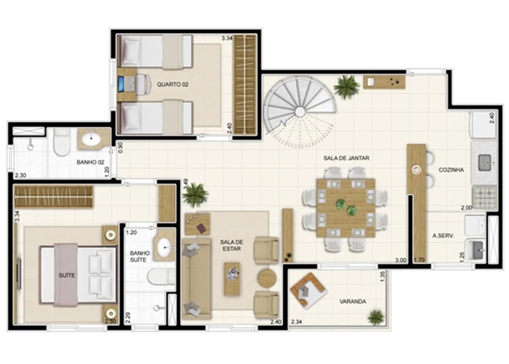 Planta Inferior Duplex 132 m² com Sala Ampliada | Novo Sttilo Home Club – Apartamentona  Nova Parnamirim - Parnamirim - Rio Grande do Norte