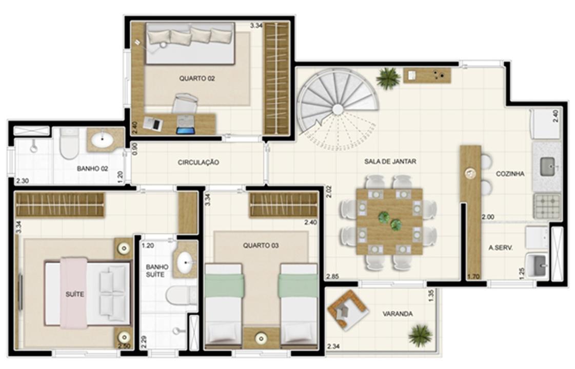 Planta Inferior Duplex 132 m² | Novo Sttilo Home Club – Apartamentona  Nova Parnamirim - Parnamirim - Rio Grande do Norte