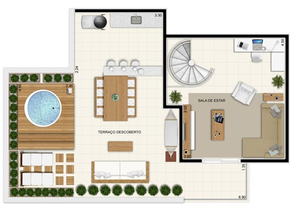 Planta Superior Duplex 132 m² | Novo Sttilo Home Club – Apartamentona  Nova Parnamirim - Parnamirim - Rio Grande do Norte
