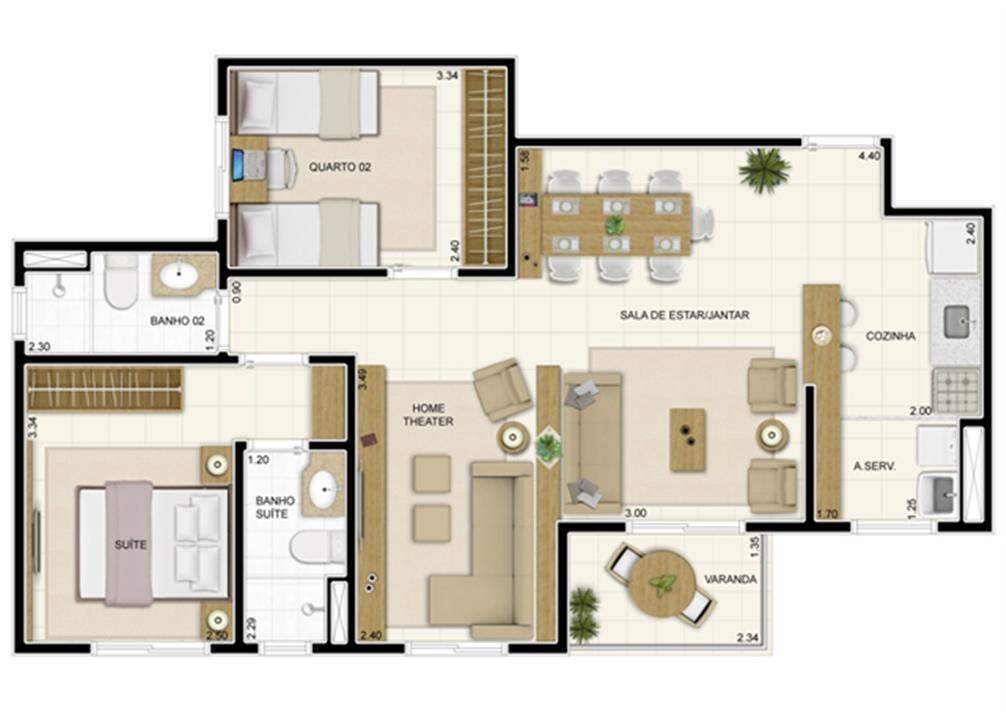 Planta Tipo 69 m² com Sala Ampliada | Novo Sttilo Home Club – Apartamentona  Nova Parnamirim - Parnamirim - Rio Grande do Norte