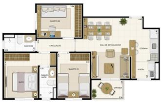 Planta Tipo 69 m² | Novo Sttilo Home Club – Apartamento na  Nova Parnamirim - Parnamirim - Rio Grande do Norte