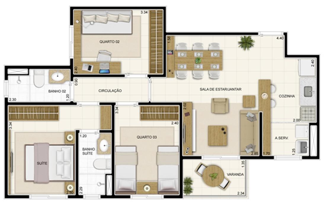 Planta Tipo 69 m² | Novo Sttilo Home Club – Apartamentona  Nova Parnamirim - Parnamirim - Rio Grande do Norte