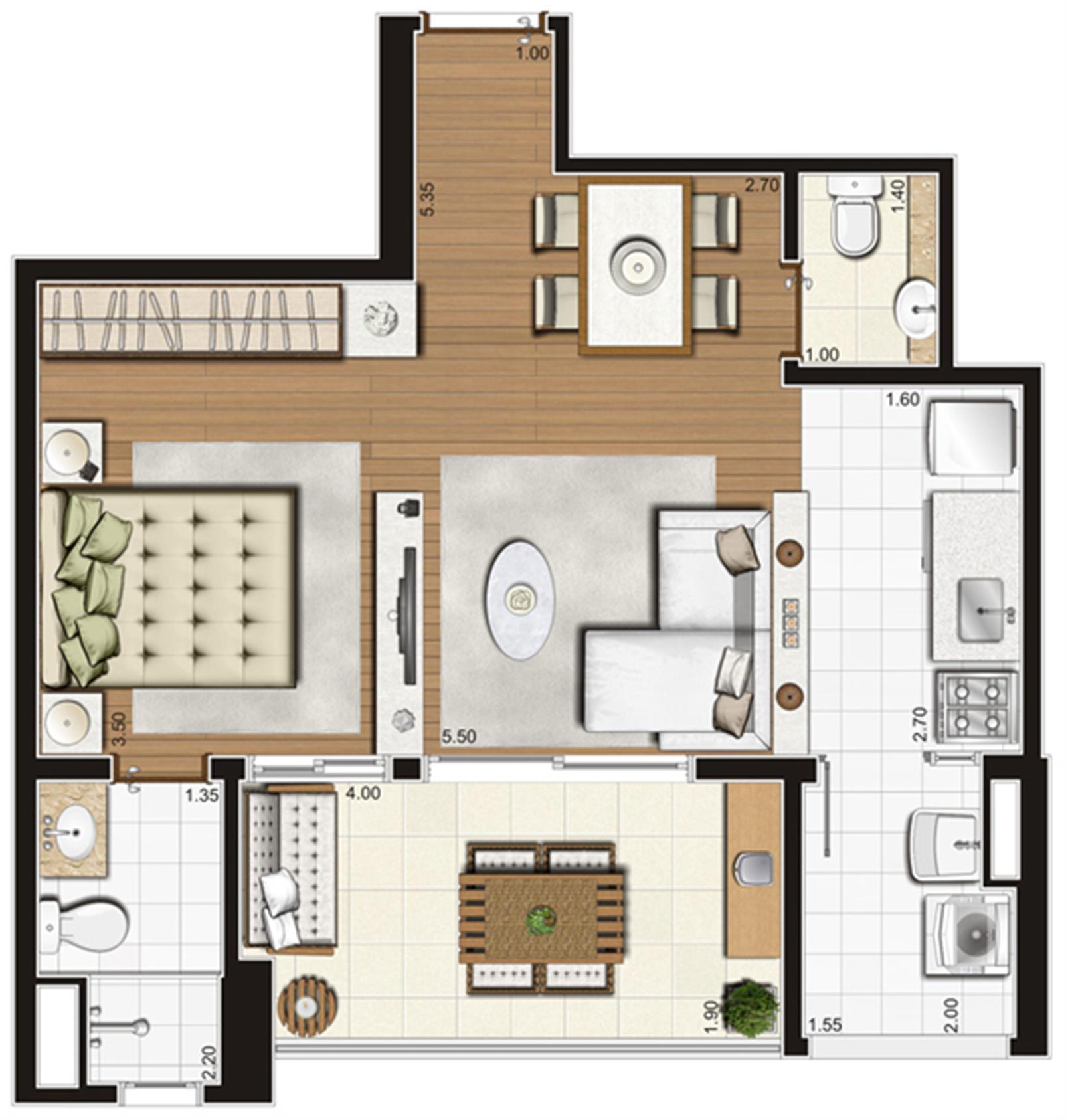 Planta-opção ilustrada do apartamento de 49 m² privativos, final 6 | Tempo Bello – Apartamentono  Campo Belo - São Paulo - São Paulo