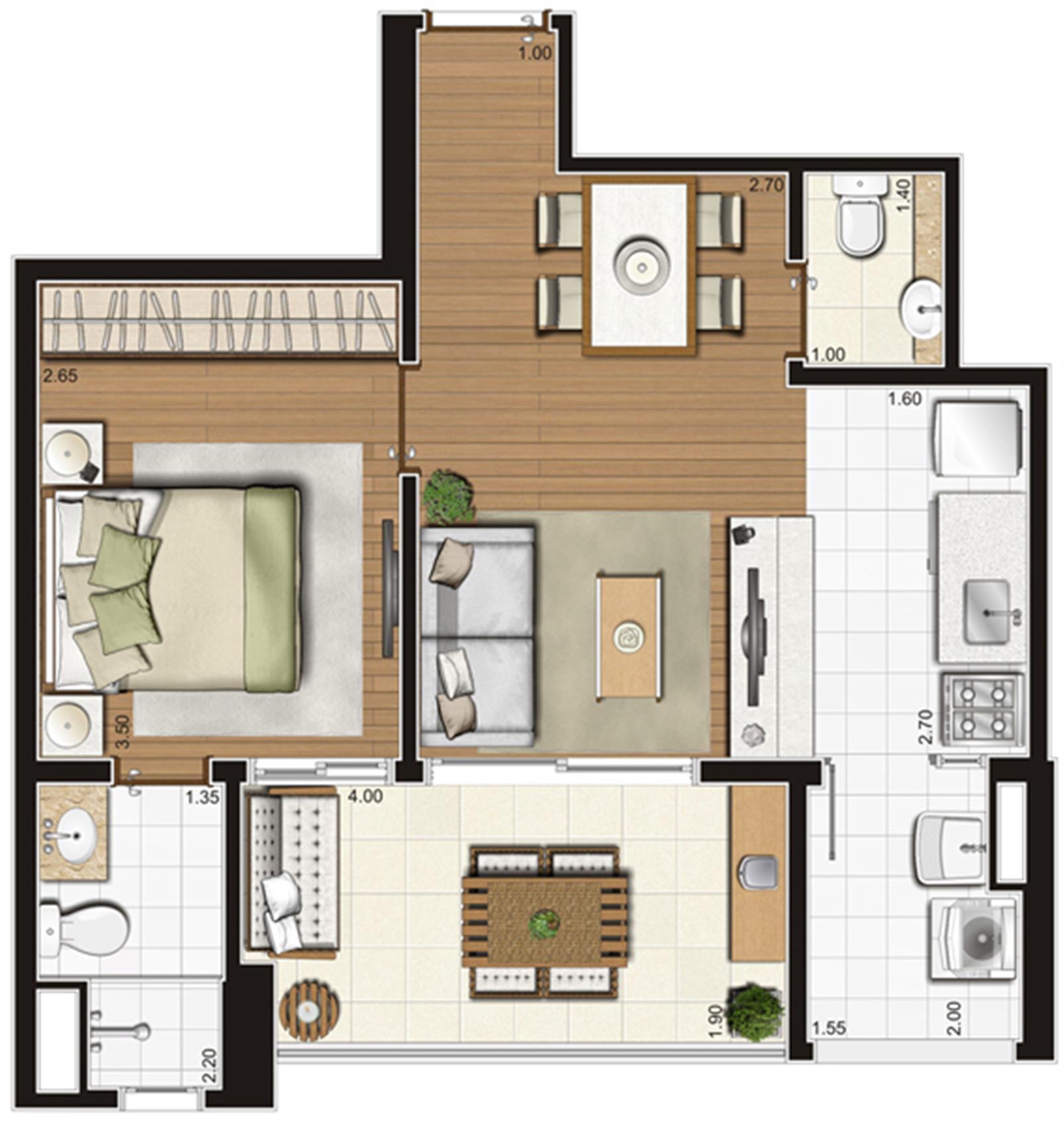 Planta-tipo ilustrada do apartamento de 49 m² privativos, final 6 | Tempo Bello – Apartamentono  Campo Belo - São Paulo - São Paulo