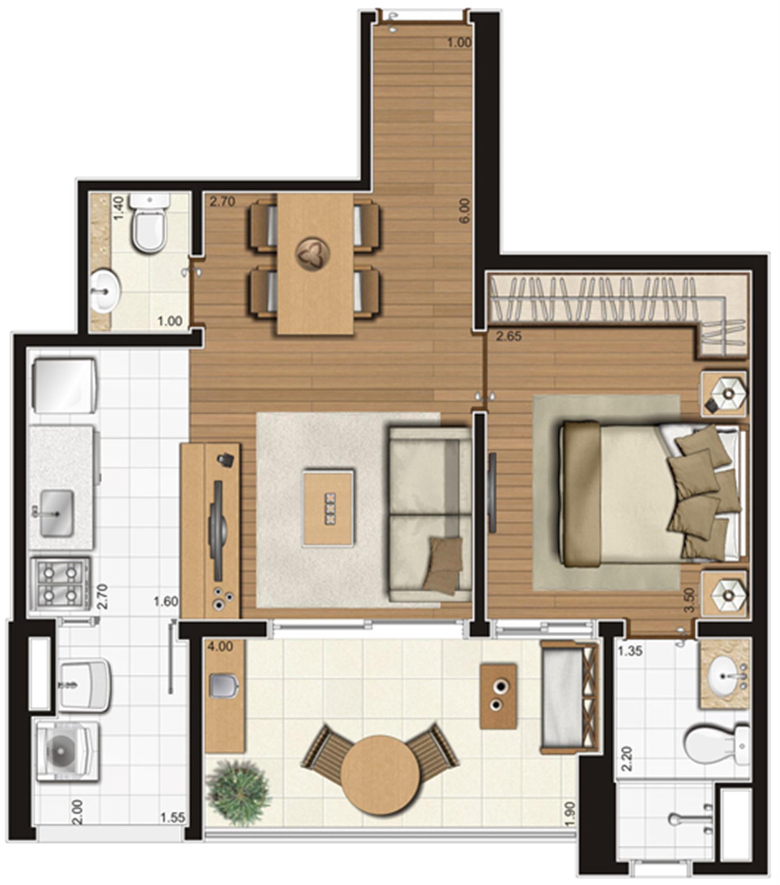 Planta-tipo ilustrada do apartamento de 50 m² privativos, finais 5, 9 e 10 | Tempo Bello – Apartamentono  Campo Belo - São Paulo - São Paulo
