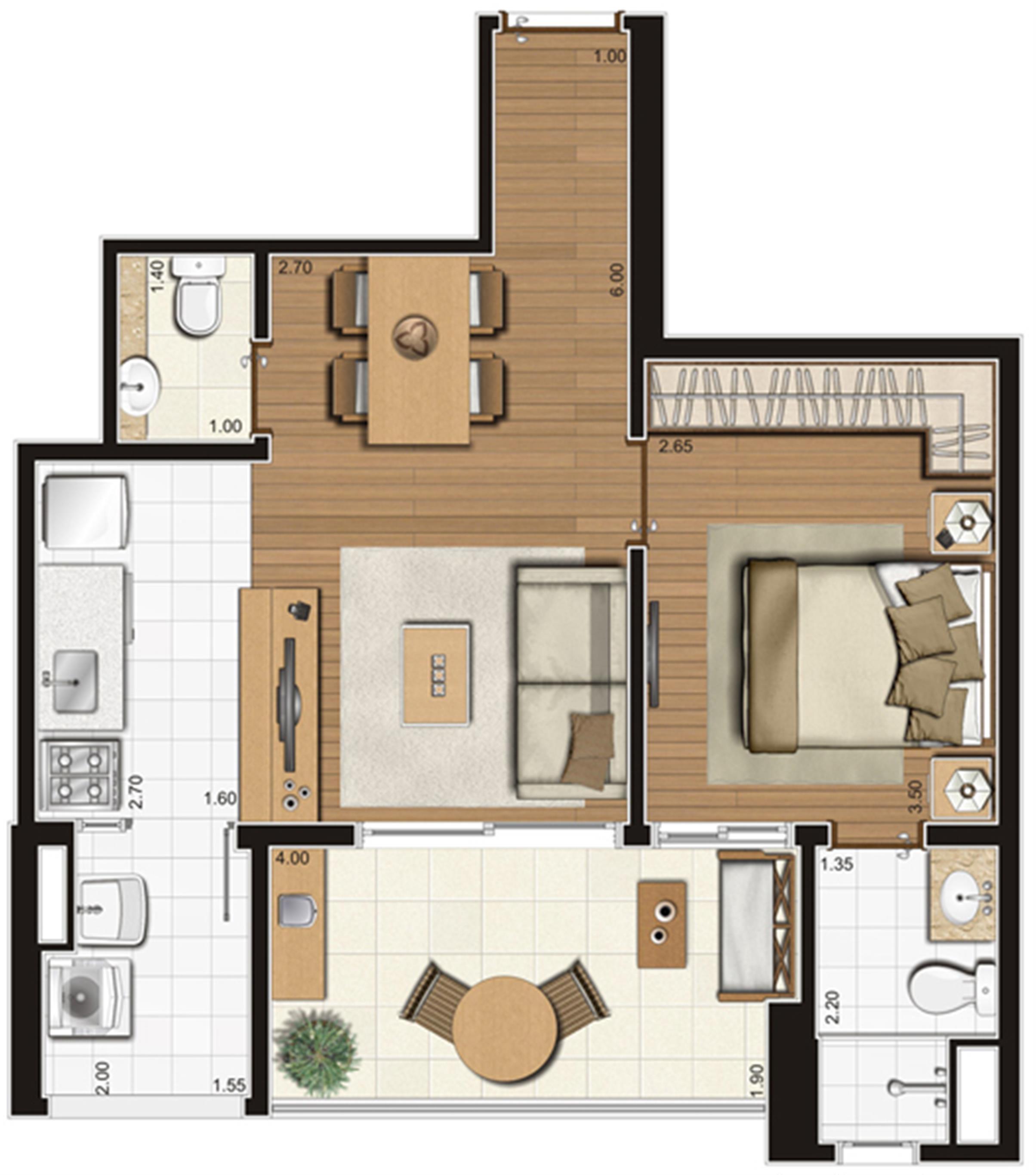 Planta-tipo ilustrada do apartamento de 50 m² privativos, finais 5, 9 e 10 | Tempo Bello – Apartamento no  Campo Belo - São Paulo - São Paulo