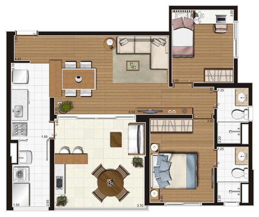 Planta-tipo ilustrada do apartamento de 73 m² privativos, finais 1 e 2 | Tempo Bello – Apartamentono  Campo Belo - São Paulo - São Paulo