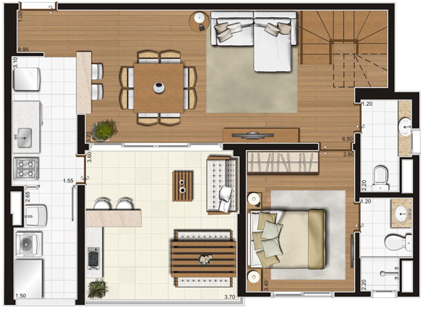 Planta-tipo ilustrada do pavimento inferior do apartamento duplex de 138 m² privativos, finais 1 e 2 | Tempo Bello – Apartamento no  Campo Belo - São Paulo - São Paulo