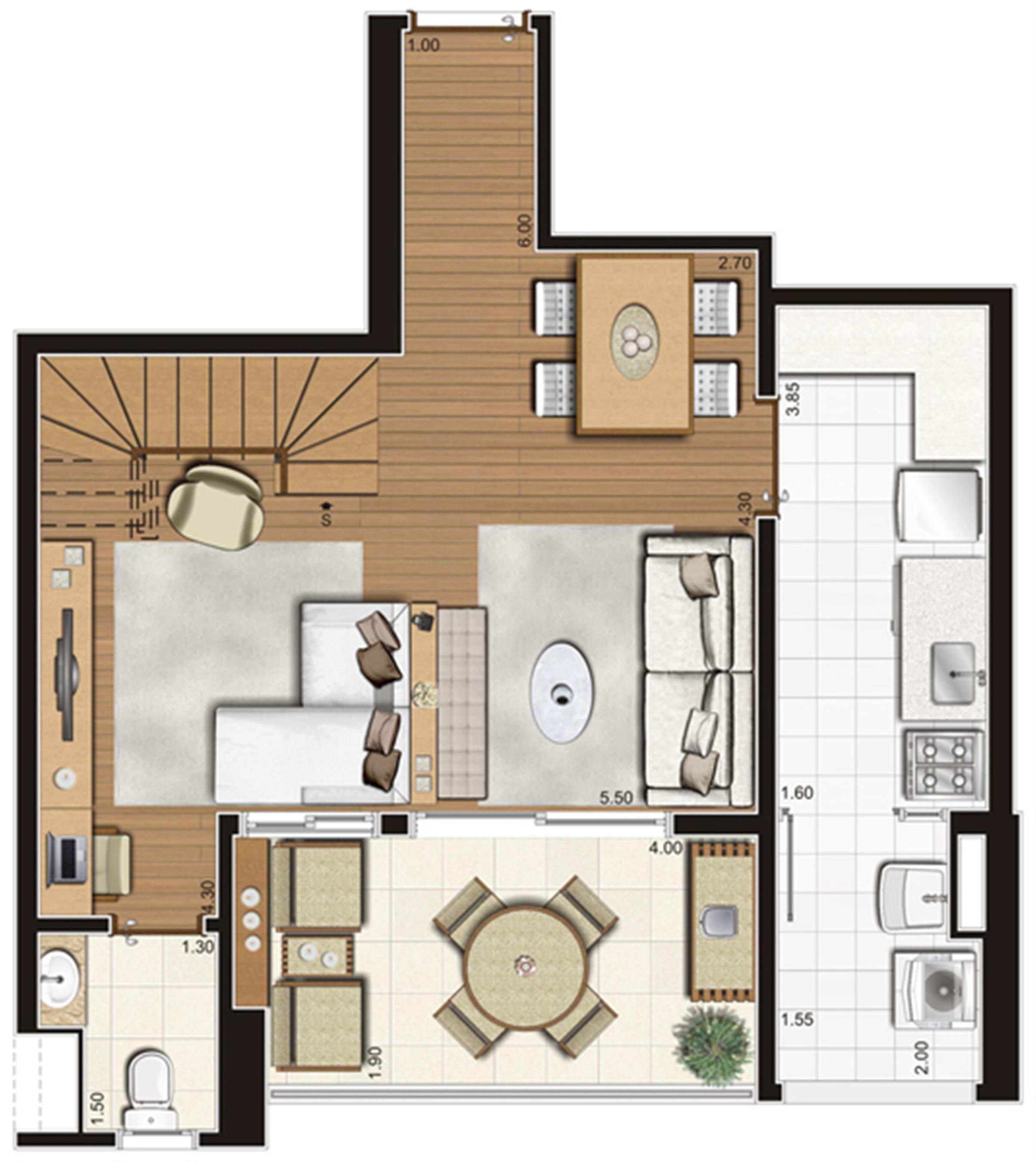 Planta-tipo do pavimento inferior do apartamento duplex de 95 m² privativos, finais 5 e 10 | Tempo Bello – Apartamento no  Campo Belo - São Paulo - São Paulo