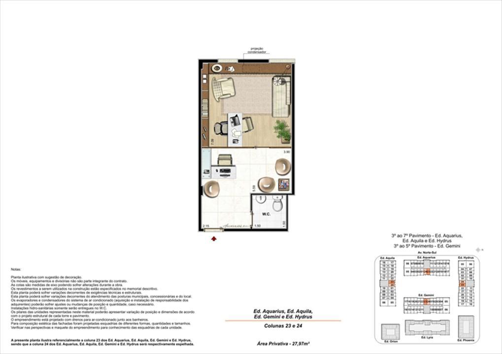 Planta ilustrativa com sugestão de decoração  (7) | Universe Empresarial – Salas Comerciaisna  Barra da Tijuca - Rio de Janeiro - Rio de Janeiro