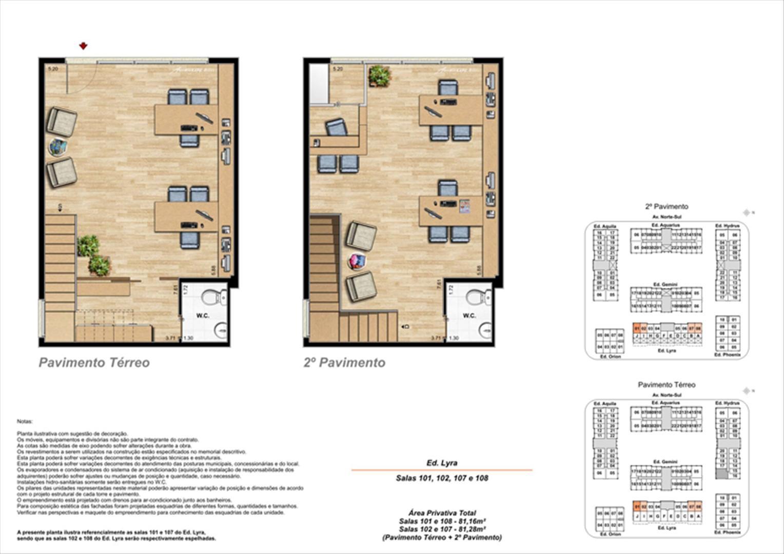 Planta ilustrativa com sugestão de decoração  (11) | Universe Empresarial – Salas Comerciais na  Barra da Tijuca - Rio de Janeiro - Rio de Janeiro