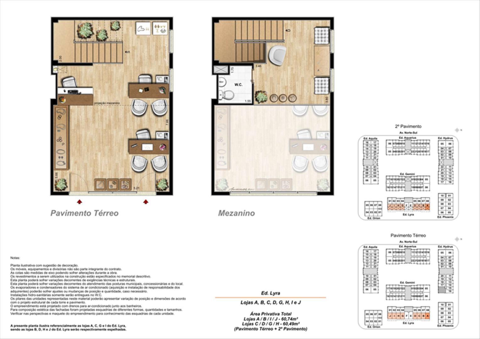 Planta ilustrativa com sugestão de decoração  (12) | Universe Empresarial – Salas Comerciais na  Barra da Tijuca - Rio de Janeiro - Rio de Janeiro