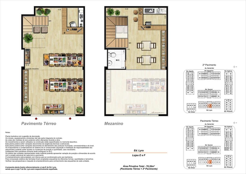 Planta ilustrativa com sugestão de decoração  (13) | Universe Empresarial – Salas Comerciaisna  Barra da Tijuca - Rio de Janeiro - Rio de Janeiro