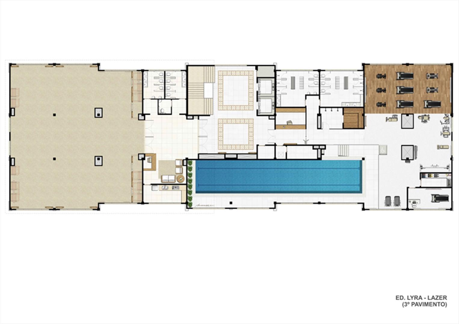 Planta ilustrativa Ed. Lyra - Lazer (3º pavimento)  | Universe Empresarial – Salas Comerciais na  Barra da Tijuca - Rio de Janeiro - Rio de Janeiro