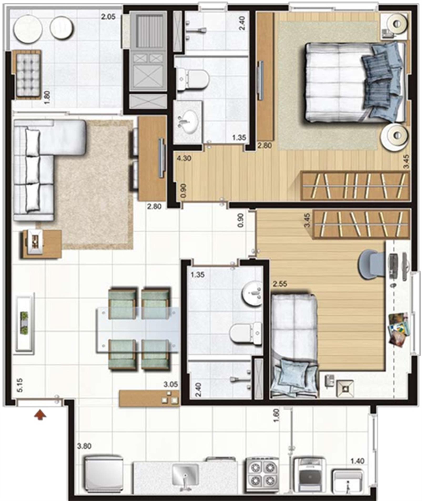 2 dorms. com suíte - 67 m² privativos - 107 m² área total - Torres A, C e D - Final 5 | Cennario Santa Catarina – Apartamentona  Praia Comprida - São José - Santa Catarina
