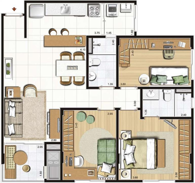 3 dorms. com suíte - 81 m² privativos - 129 m² área total - Torres A, C e D - Final 8 | Cennario Santa Catarina – Apartamentona  Praia Comprida - São José - Santa Catarina