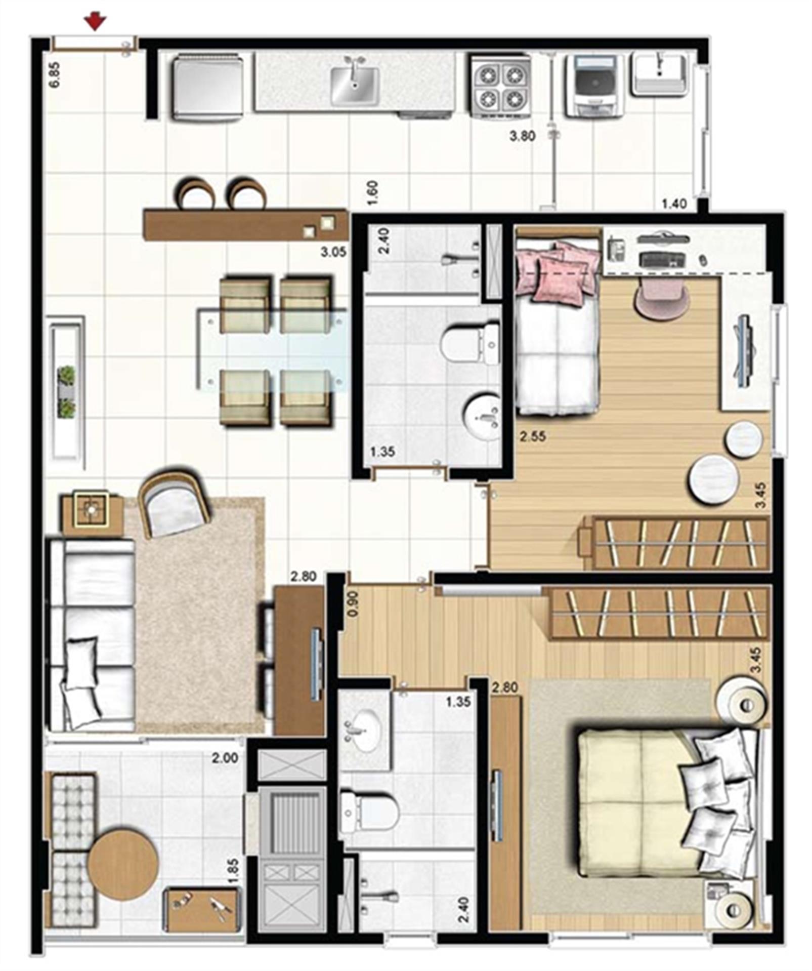 Opção living estendido - 66 m² privativos - Torre Mirante | Cennario Santa Catarina – Apartamentona  Praia Comprida - São José - Santa Catarina