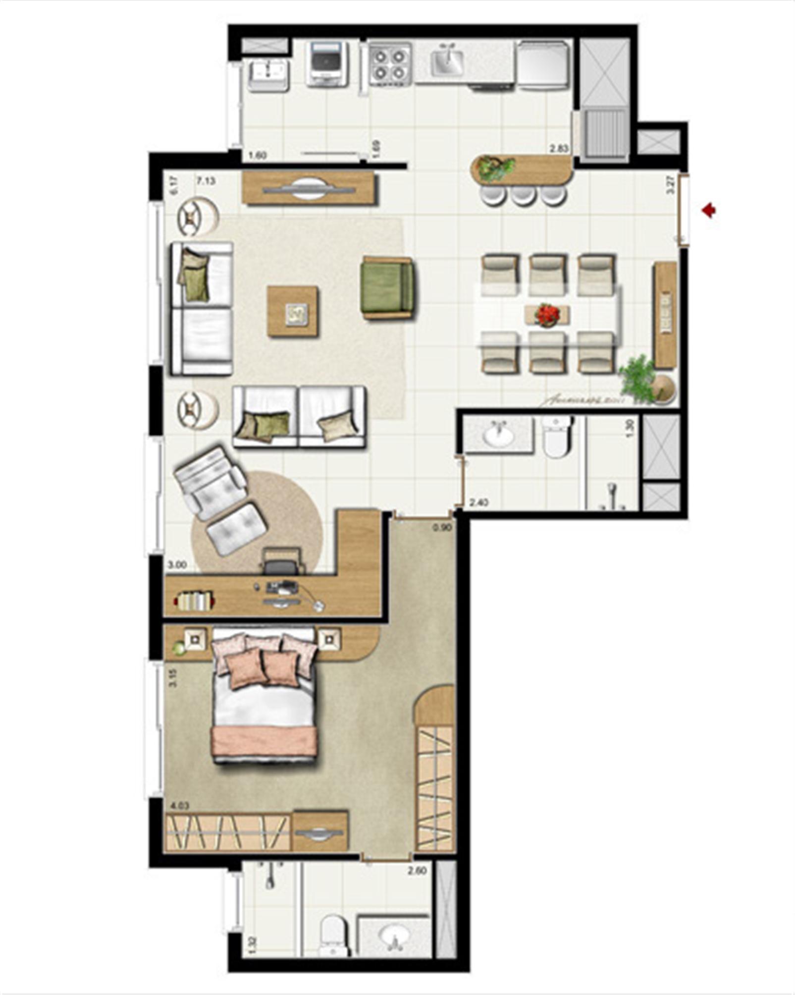 1 suíte - Opção living estendido 75 m² privativos - 118 m² de área total | Riserva Anita – Apartamentona  Boa Vista - Porto Alegre - Rio Grande do Sul