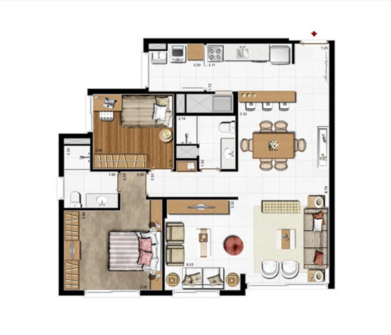2 dorms. com suíte – Opção living estendido 87 m² privativos - 137 m² de  área total | Riserva Anita – Apartamento na  Boa Vista - Porto Alegre - Rio Grande do Sul