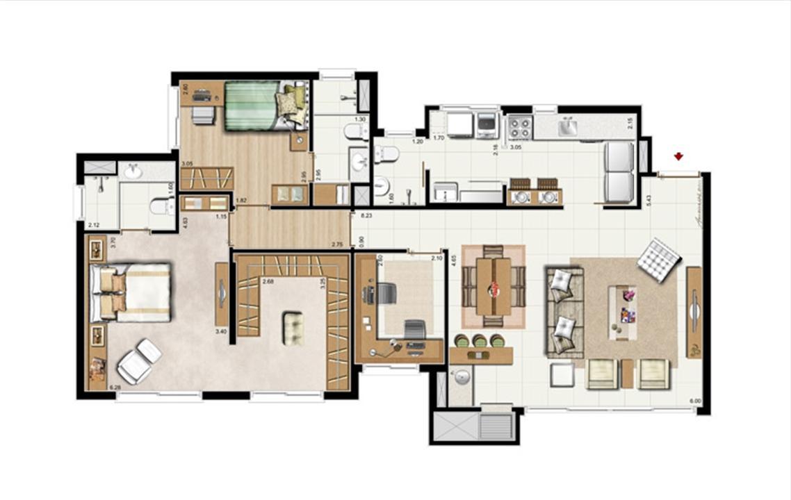 2 suítes + Gabinete – Opção Suíte Master 107 m² privativos - 168 m² de área Total | Riserva Anita – Apartamentona  Boa Vista - Porto Alegre - Rio Grande do Sul