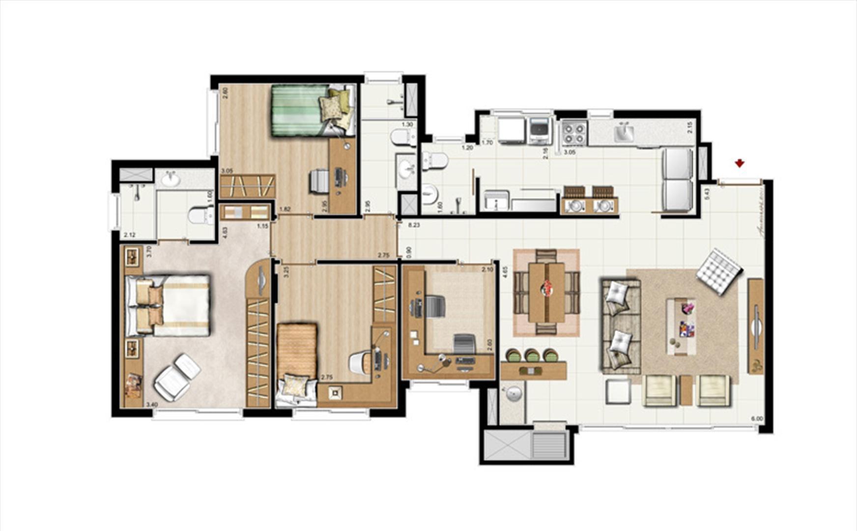 3 dorms. com suíte + Gabinete - Planta padrão 107 m² privativos - 168 m² de área Total | Riserva Anita – Apartamento na  Boa Vista - Porto Alegre - Rio Grande do Sul
