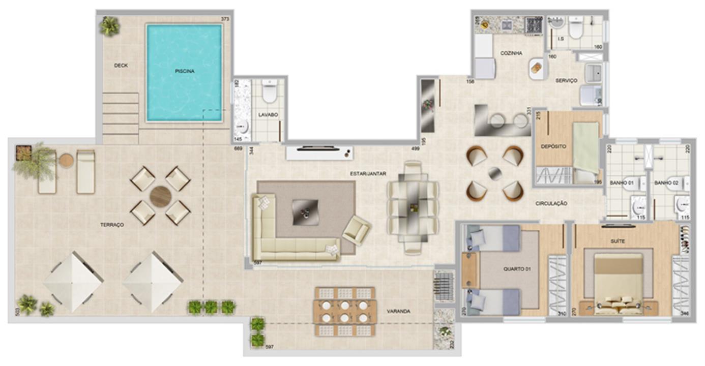 Perspectiva ilustrativa da cobertura Panorama | Condomínio Varandas da Serra – Apartamentona  Serra - Belo Horizonte - Minas Gerais